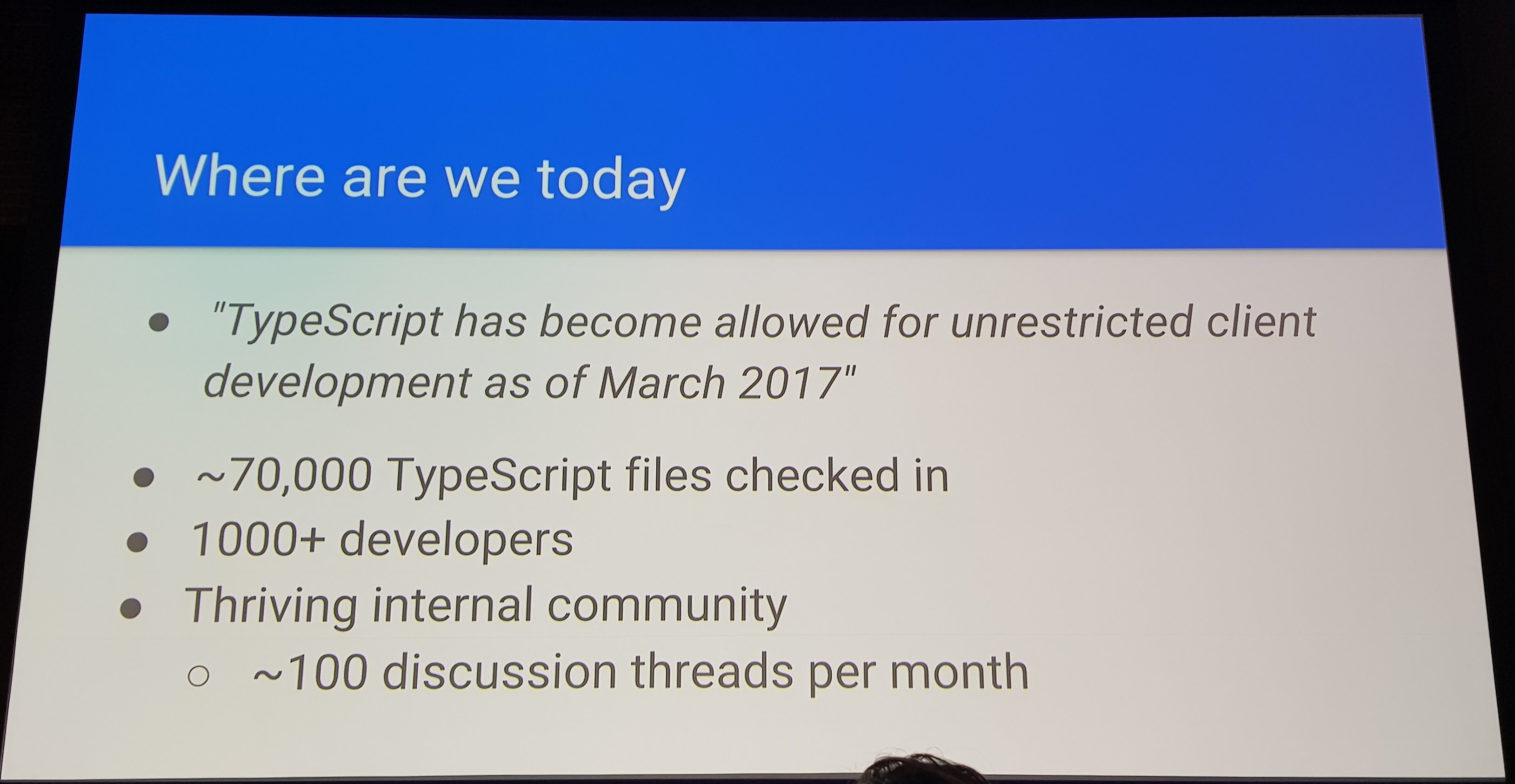 A slide showing the current usage of TypeScript at Google