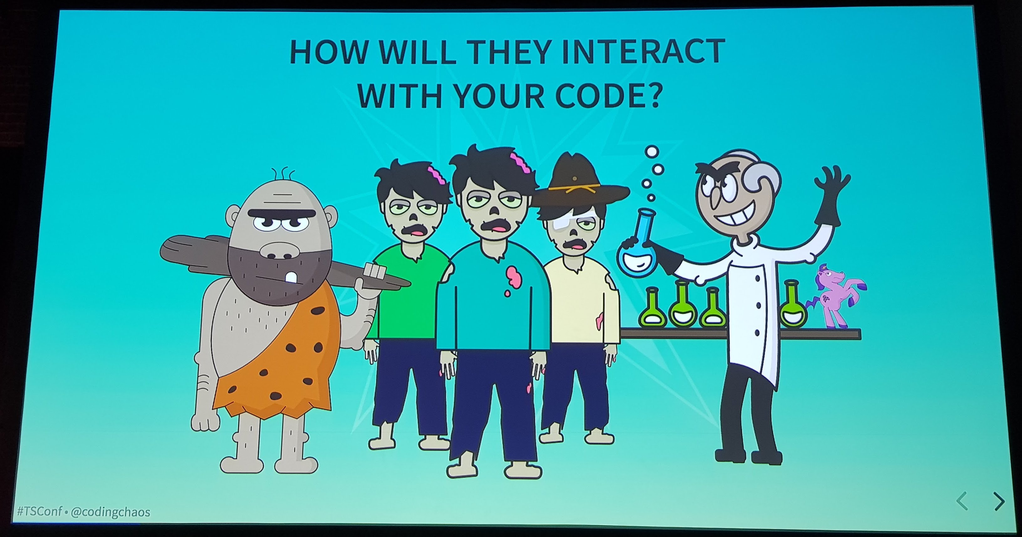 Slide showing cartoons of the Caveman Coder, The Intern Horde and the Inventor